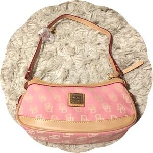 Dooney and Bourke Canvas and Leather Pink Logo Bag